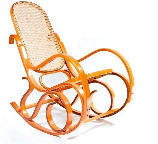 Fotel bujany wyplatany rafią