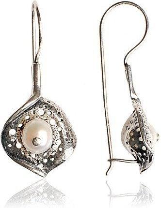 AnKa Biżuteria Catherine -kolczyki srebrne oksydowane z perłą